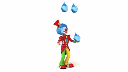 tréfacsináló : Cartoon clown juggling with water droplets Stock mozgókép