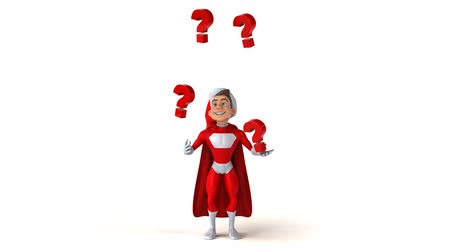 święta : Superhero character with santa hat juggling question marks
