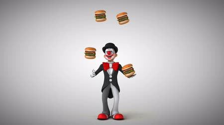 coringa : Cartoon clown juggling hamburgers