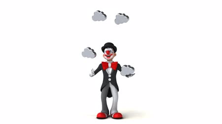 tréfacsináló : Cartoon clown juggling cloud icons Stock mozgókép