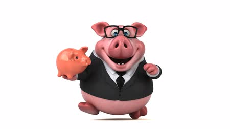 svině : Cartoon pig in a suit with piggy bank