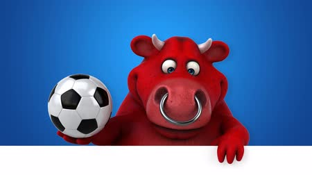 bulls balls : Cartoon bull holding a soccer ball