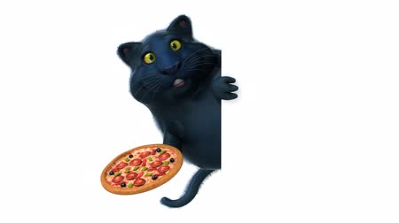 cheese slice : Cartoon black cat with pizza Stock Footage