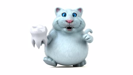cálcio : Cartoon cat with a tooth Vídeos