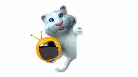 tv channel : Cartoon cat with television