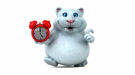 кошачий : Cartoon cat with alarm clock