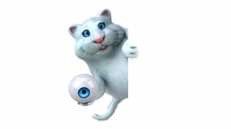 мониторинг : Cartoon cat holding an eyeball and hide