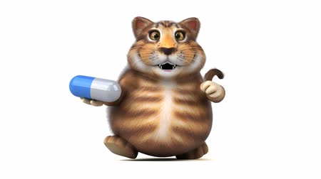 cápsula : Cartoon cat running and holding a pill