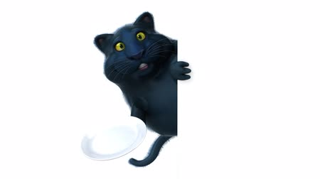 служить : Cartoon cat holding an empty plate and hide Стоковые видеозаписи