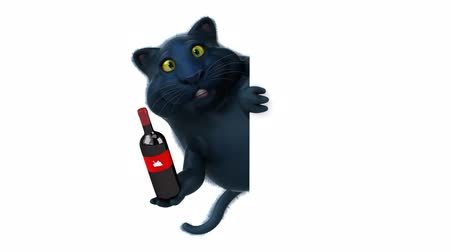 víno : Cartoon cat holding a wine bottle and hide