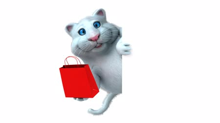 gizli : Cartoon cat holding a shopping bag and hide Stok Video