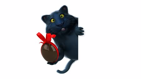 gizli : Cartoon cat holding a chocolate egg and hide