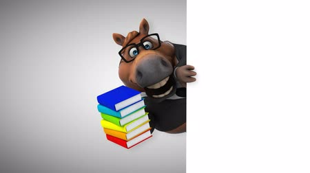 hiding : Cartoon horse holding a stack of books