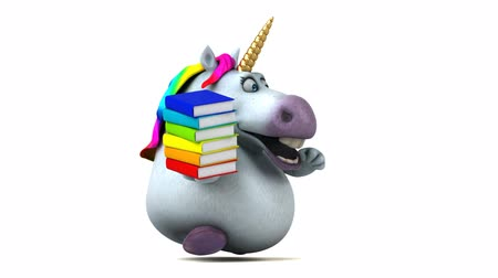 мифический : Cartoon unicorn running with a stack of books