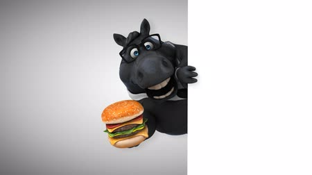 konie : Cartoon horse with spectacles holding a burger