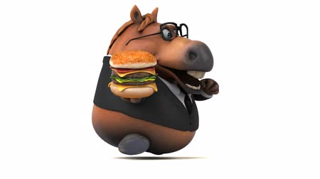 intelecto : Cartoon horse with spectacles running while holding a burger