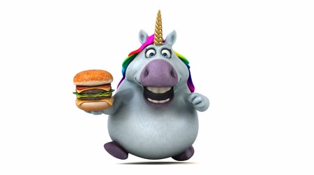 мифический : Cartoon unicorn running with a burger