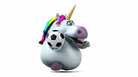 yele : Cartoon unicorn running with a soccer ball Stok Video