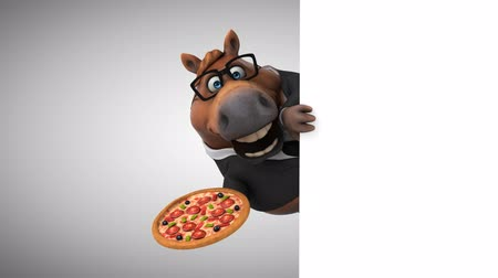roupas formais : Cartoon horse with spectacles holding a pizza