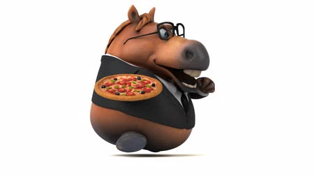 kůň : Cartoon horse with spectacles running with a pizza