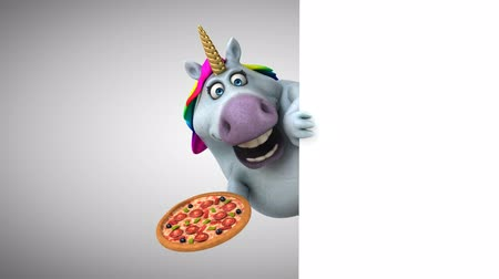 мифический : Cartoon unicorn holding a pizza Стоковые видеозаписи
