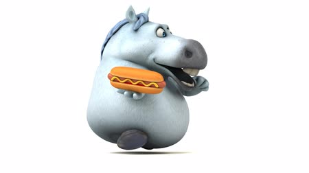 baharatlı alman sosisi : Cartoon horse running with a hotdog Stok Video