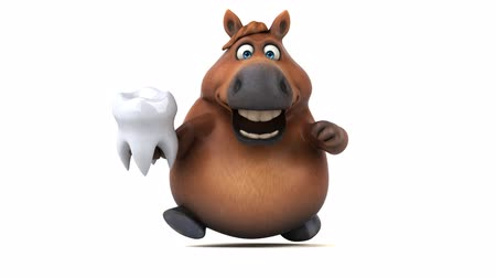 cálcio : Cartoon horse running with a tooth