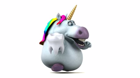 szóbeli : Cartoon unicorn running with a tooth Stock mozgókép