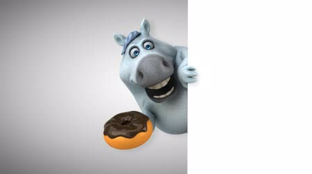 equestre : Cartoon horse holding a donut