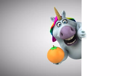 мифический : Cartoon unicorn holding a orange