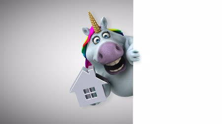 мифический : Cartoon unicorn holding a house icon