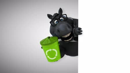 lixeira : Cartoon horse with spectacles holding a recycle bin Vídeos