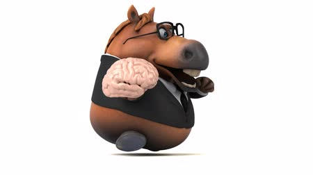 beygir gücü : Cartoon horse with spectacles running with a brain Stok Video