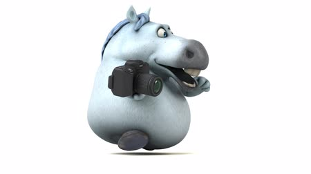 equestre : Cartoon horse running with a camera