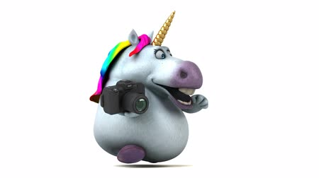 мифический : Cartoon unicorn running with a camera Стоковые видеозаписи