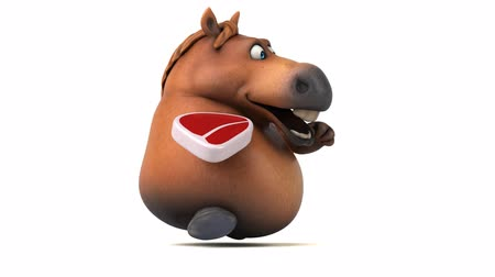 kůň : Cartoon horse running with a raw steak