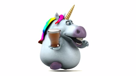 мифический : Cartoon unicorn running with a cup of beer