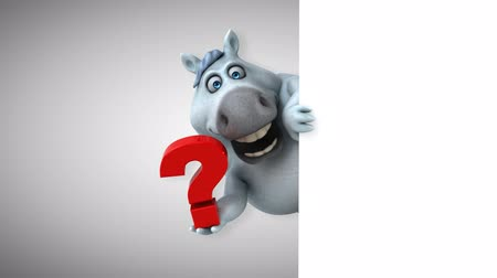 question : Cartoon horse holding a question mark Stock Footage