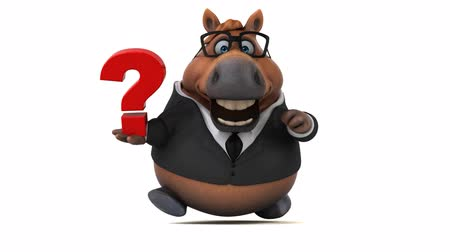 ponto de interrogação : Cartoon horse with spectacles holding a question mark