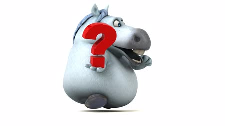 ponto de interrogação : Cartoon horse running with a question mark Stock Footage