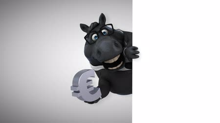 intelecto : Cartoon horse with spectacles holding a euro symbol