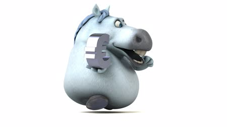 yabancı : Cartoon horse running with a euro symbol Stok Video