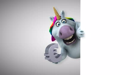 мифический : Cartoon unicorn holding a euro symbol