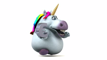 мифический : Cartoon unicorn running with a euro symbol