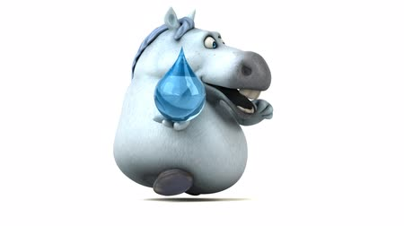 clear liquid : Cartoon horse running with a water droplet Stock Footage