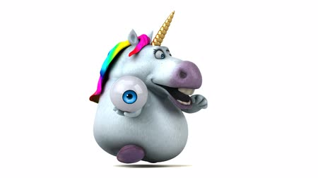 мифический : Cartoon unicorn running with an eyeball Стоковые видеозаписи