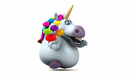мифический : Cartoon unicorn running with speech bubbles