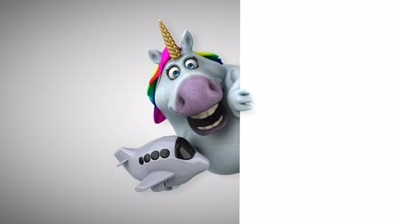 мифический : Cartoon unicorn holding an airplane