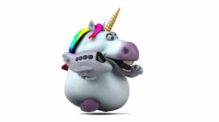 mitolojik : Cartoon unicorn running with an airplane Stok Video