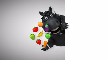 eggplant : Cartoon horse with spectacles holding a variety of fruits and vegetables